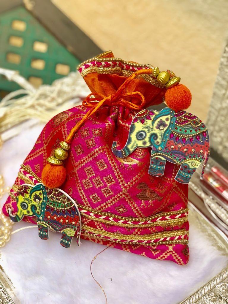 Elephant Latkan Potli (Pink)